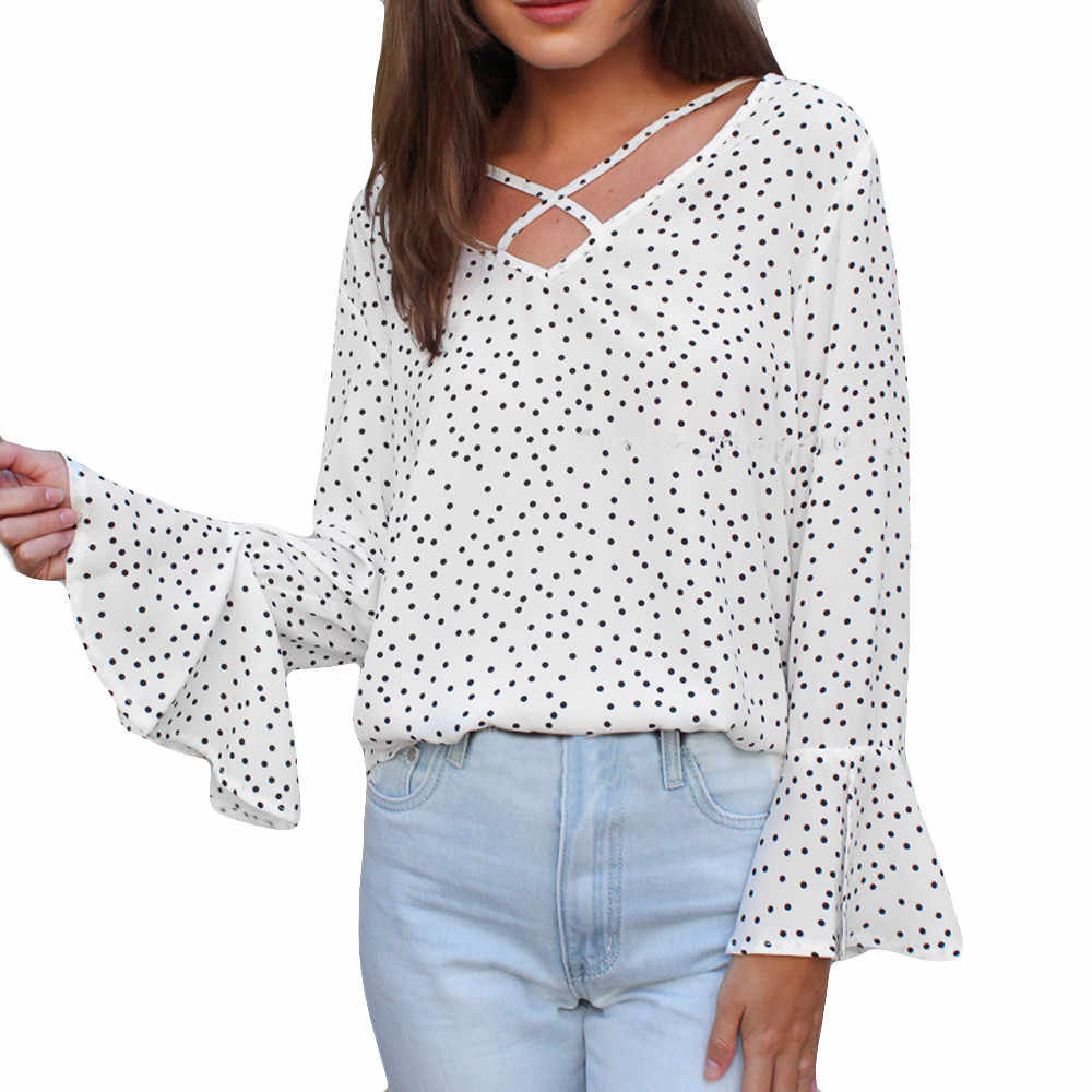 f32474615d65b ... ISHOWTIENDA Fashion Women Blouse Shirt Wave Point Casual Top Shirt  Ladies Loose Long Sleeve Top Summer ...