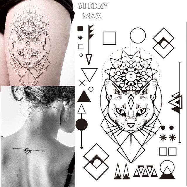 W17 1 Piece Geometrique Chat Tatouage Temporaire Avec Carre Rond Cercle Triangle Geometrie Motif Corps Art Tatouages