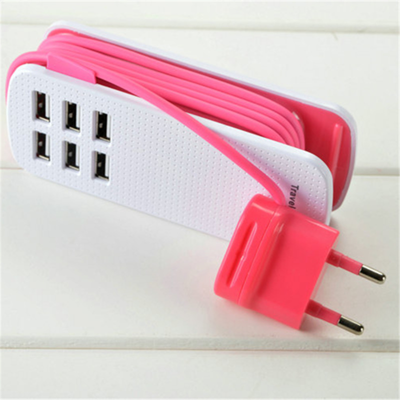 Go2linK Portable Travel Portable US/EU Outlet 6 USB Ports Power Strip Plug Socket Charger for Samsung iPhone Xiaomi HTC Tablet