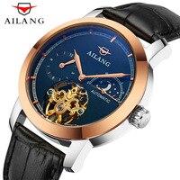 AILANG сапфировые автоматические механические часы мужские брендовые Роскошные водонепроницаемые часы с кожаным каркасом из розового золота