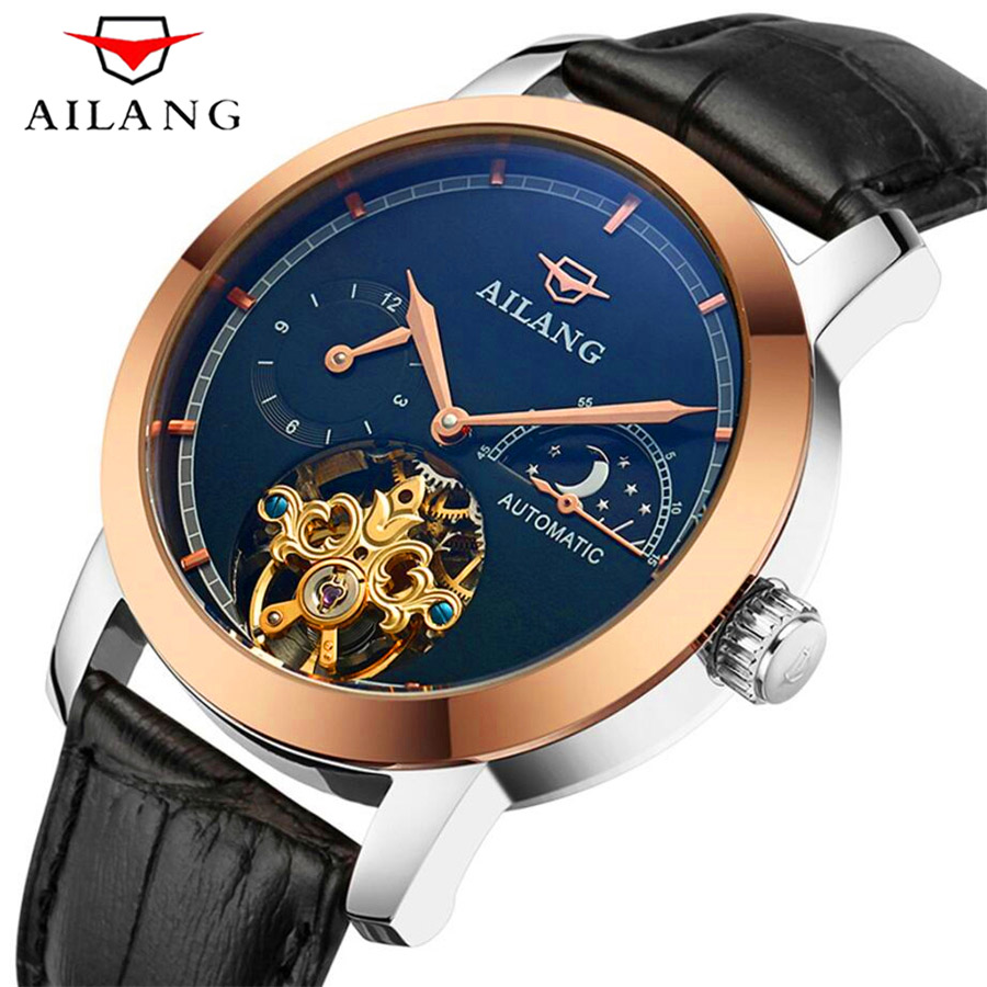 AILANG Sapphire Automatic Mechanical Watches Men Brand Luxury Waterproof Rose Gold Case Leather Skeleton Tourbillon Watch New 2017 issue automatic watch men parnis 44mm power reserved steel black gold case brown leahter sapphire mechanical men s watches