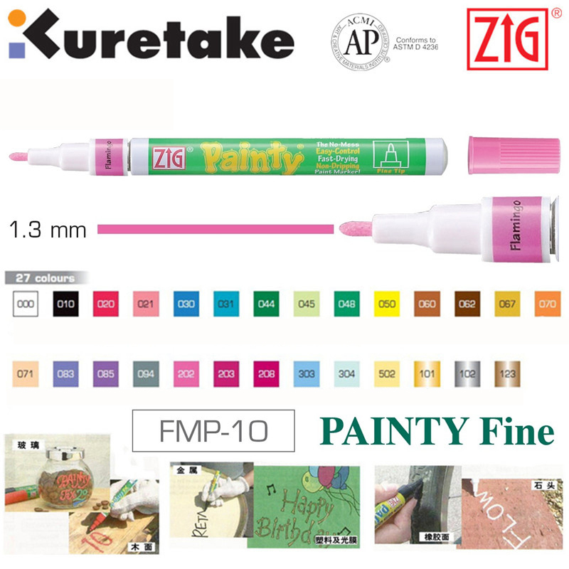 Painting Supplies Zig Kuretake Oil Paint Markers Metallic Painting Pens Fmp-20 Painty Extra Fine 1.0 Mm Silver Gold Japan Paint Brushes