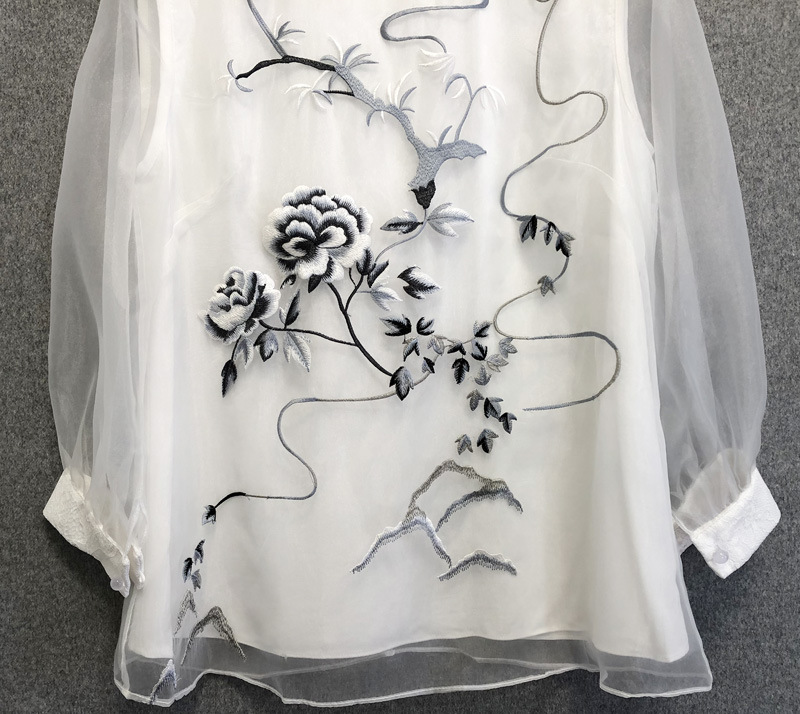 Chic women's Chinese style Organza blouses top 2019 Spring summer embroidered Shirts A278 - 3