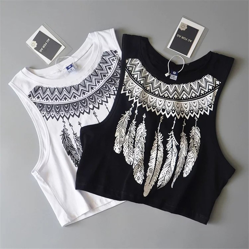 Zomer nieuwe mode dames losse mouwloze tops coole veer print crop top casual dames witte katoenen tops vest tank