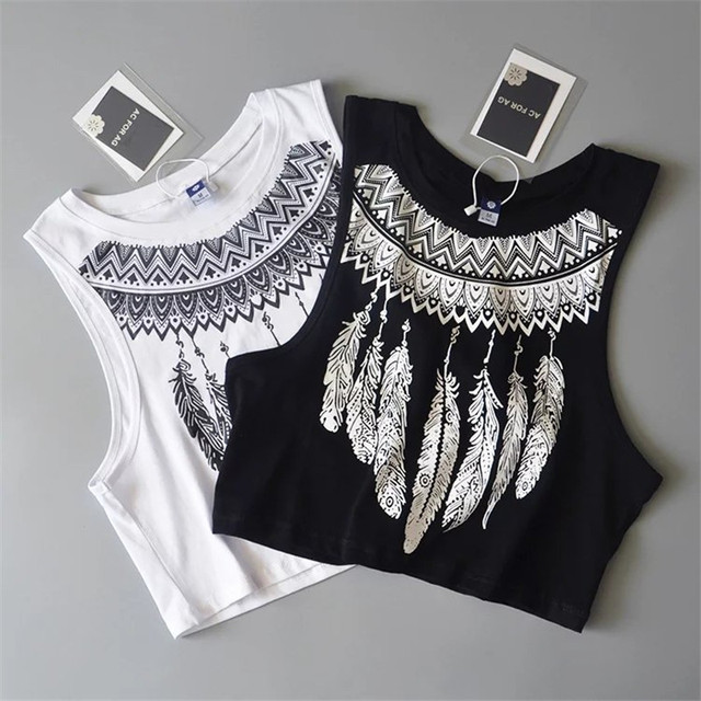 b7dcd76debcab Summer New Fashion Women loose Sleeveless Tops cool feather Print Crop Top  Casual Women white cotton Tops Vest Tank