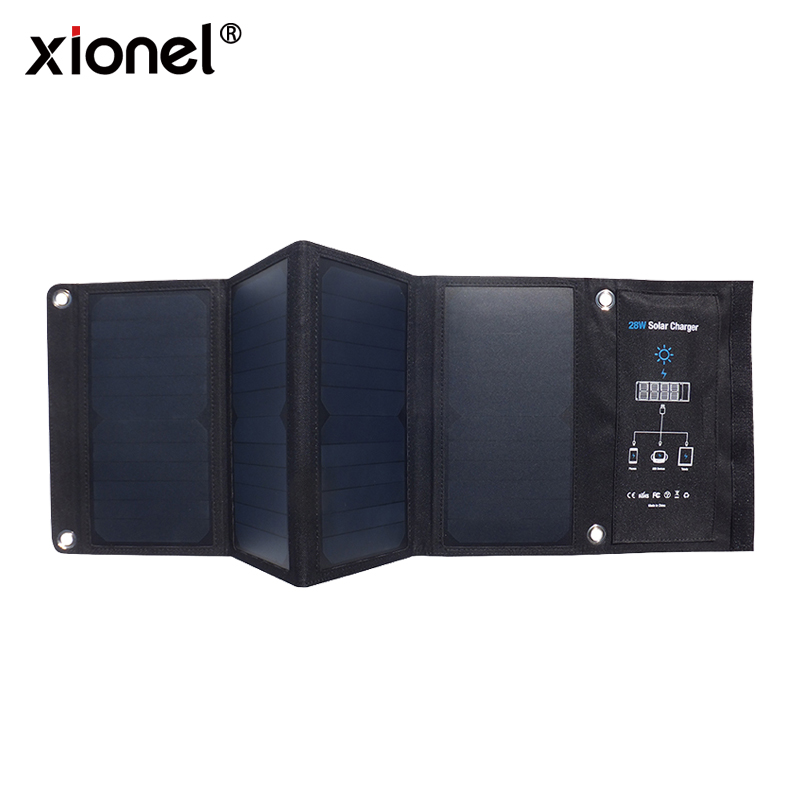 Xionel Portable 28W Foldable Waterproof Fast Charging Solar Panel Charger Mobile Power Bank 3 USB Port