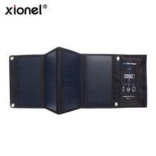 Xionel 휴대용 28W Foldable 방수 빠른 충전 태양 전지 패널 충전기 휴대 보조베터리 3 USB 포트 야외