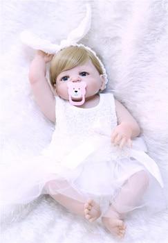 55cm bebe princess reborn doll 55cm silicone vinyl dolls reborn babies bron Toys for girl Kids Child Gift Brinquedos