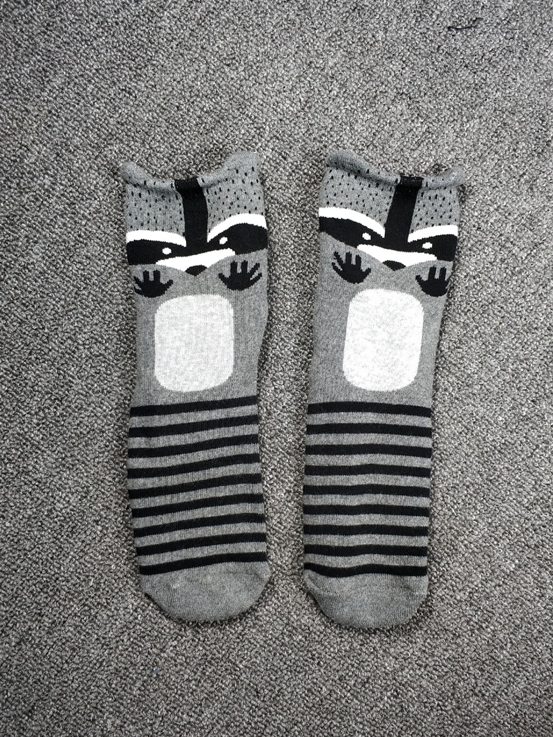 Women Happy Funny Animal Panda Raccoon Polar Bear Thick Winter Socks
