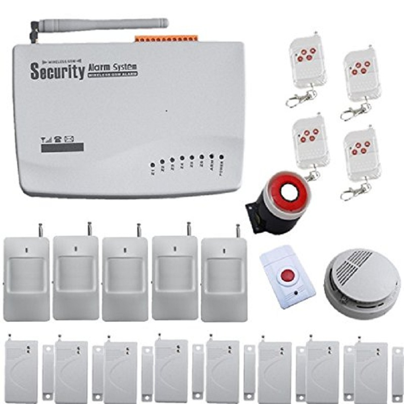 Kit Wireless Home Security Sistema Di Allarme Smoke Detector 433MHz Panic Button Door Detector PIR Motion Sensor Detector