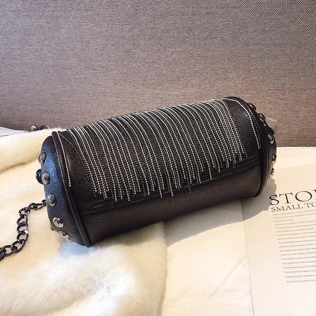 LYKANEFU Punk Style Women Bag PU Leather Handbag with Rivet and Tassel Purse Women's Shoulder Bags Small Cross Body Bag Chain