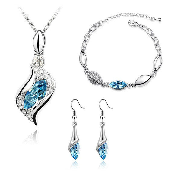 angel hawk Eyes Austrian Crystal Pendant Necklaces Earrings Bracelet gifts women lovers fashion Jewelry Sets free drop shipping