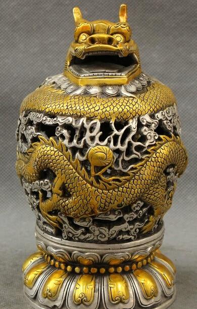 JP S0114 Tibet Silver Gilt Buddhism Dragon Head Ball Statue Box Incense Burner Censer Discount 35%