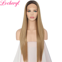 Lvcheryl Hand Tied Dark Roots To Ash Blonde Ombre Straight Heat Resistant Hair Glueless Synthetic Lace Front Wigs Daily Wear