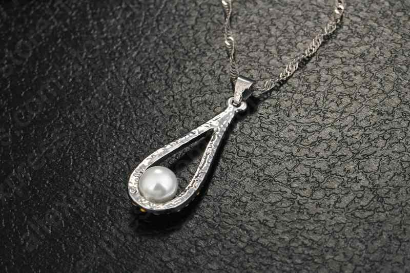925 Sterling Silver Shiny CZ Crystal Water Drop Pearl Necklaces For Woman Fine Jewelry Wedding Earring Set Gift