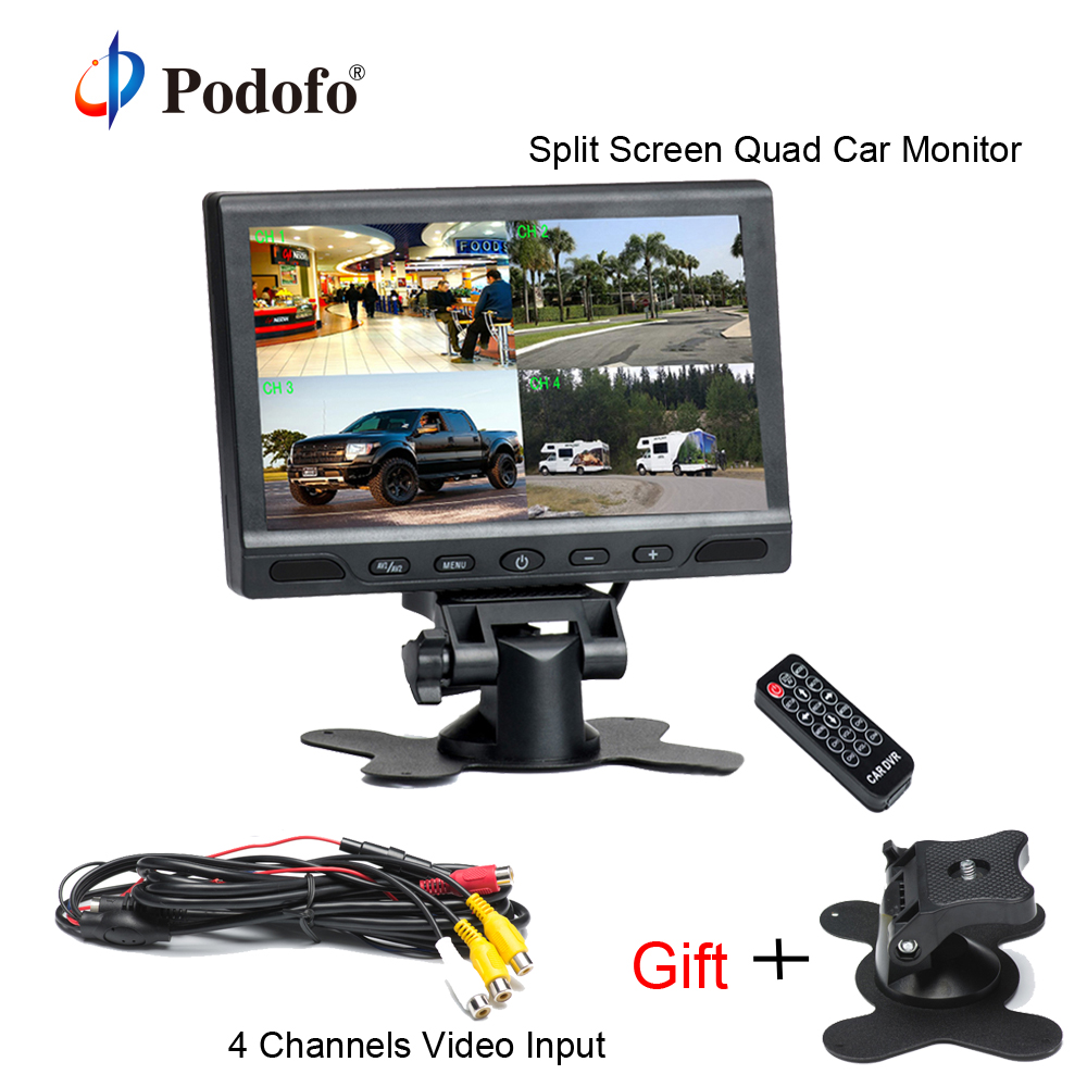 """Podofo 7 """"TFT ЖК-дисплей Разделение Экран Quad Автомобильный Мониторы 4 Каналы видео Вход для резервного копирования Камера Системы Поддержка Micro sd карты dvr"""