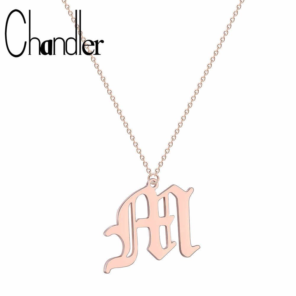 Chandler Initial Letters M Necklace Women Gold Color Chain Fashion Long Necklaces Tiny Pendant Boho Statement Necklace Collier