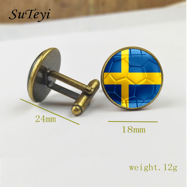 Suteyi Flag Football Print Cufflinks Round Glass National Pattern Shirt Suit Charms Black Silver Jewelry