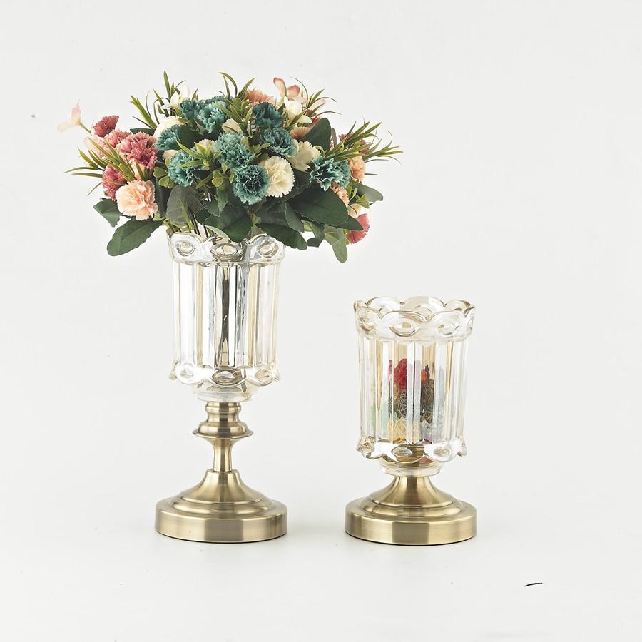 Metal Base Glass Flowers Vase Hanging Candle Lantern Tea Light ...