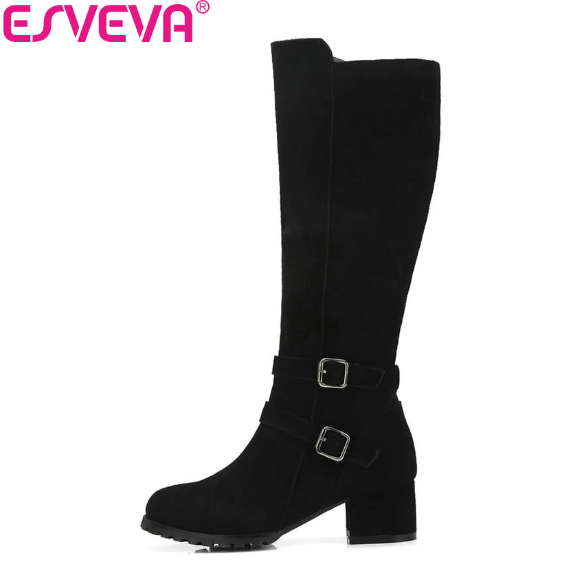 ESVEVA 2019 Shoes Women Knee-high Boots Square Heels Buckle Round Toe Autumn Motorcycle Boots Zipper High Heels Shoes Size 34-40 enmayda knee high boots for women high heels round toe size 34 40 motorcycle boots platform shoes zippers solid black shoes