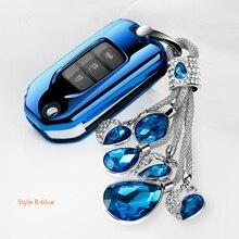 For Honda CIVIC ACCORD ODYSSEY EURO CRIDER JADE 2014-2016 Flip Fob Keyshell Car styling Soft TPU Car Folding Key Cover Case