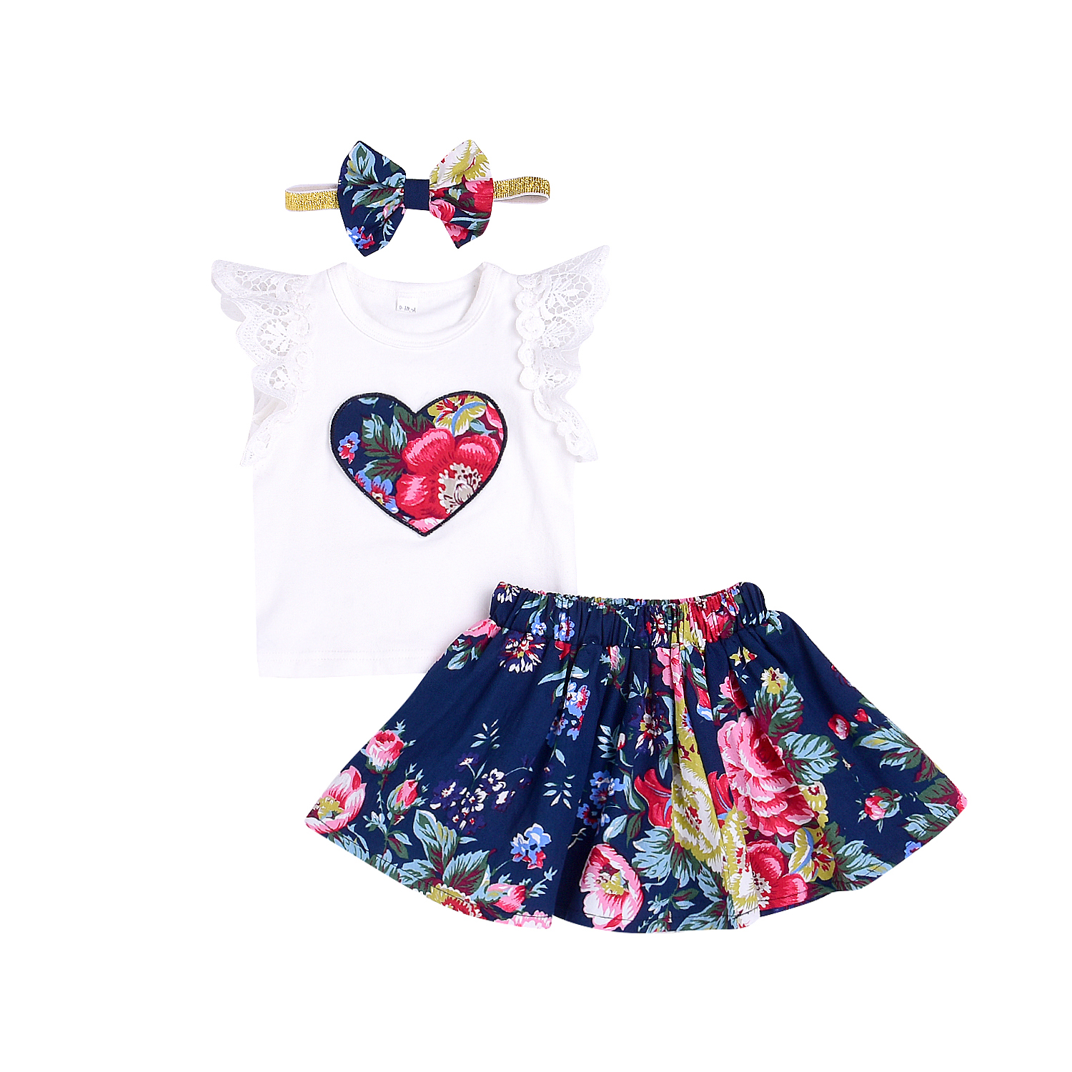 0-24M Kids Baby Girls Summer HOT SALE Heart Short Sleeve T-shirt+Floral Skirt+Headband Cute Clothes Sets 3PCS