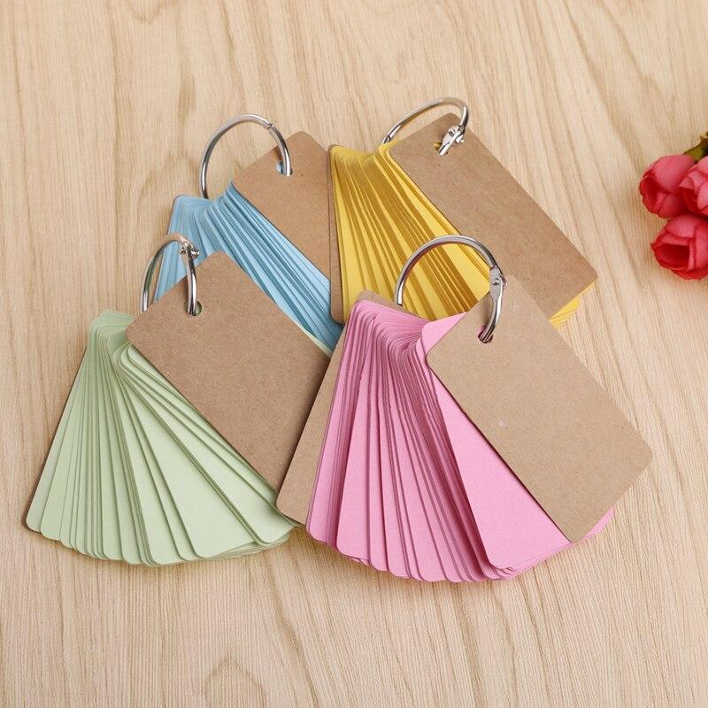 Kraft Paper Binder Ring Easy Flip Flash Cards Study Memo Pads DIY Stationery Notebook