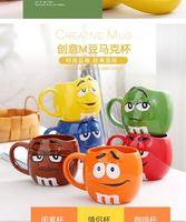 Cute M&M's MM Beans Cafe Oatmeal Mug Drinking Cups Ceramic Color Glaze Coffee Milk Mugs Water Tea porcelain