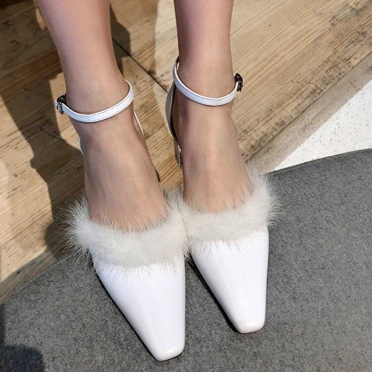 Pxelena High Ankle Frauen Schwarzes Party Sandalen Leder Echtem Strap Aus Luxus Echtpelz weiß Zu Heels Schuhe Kleid Abend Platz Kristall rraqBwf