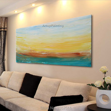 Dusk Seaside Acrylic Paint Home Decoration Oil Painting on canvas hight Quality Hand-painted Wall Art 24X48 inch ,36X72