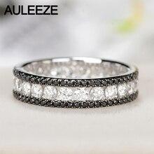 AULEEZE Luxury 1.6cttw Black White Real Diamond Ring Au750 18k White Gold Natural Diamond Wedding Engagement Ring Eternal Band