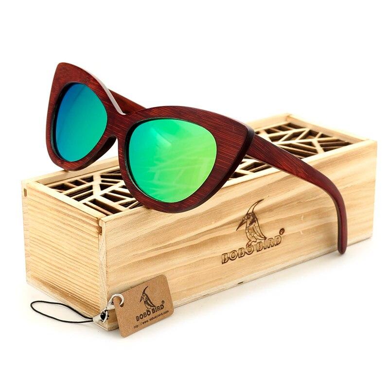 BOBO OISEAU Dames Chat yeux Classique lunettes de Soleil En Bois Femmes hommes Revêtement Miroir En Bois Lunettes de Soleil lunettes à la mode dans la Boîte