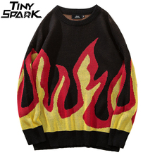 Harajuku Japanese Sweater Pullover Retro Vintage Fire Flame Mens Knitted Sweater Streetwear Autumn 2018 Pullover Oversize Cotton