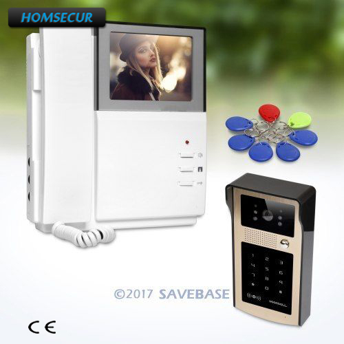 HOMSECUR 4.3 Video Door Intercom System with Keyfobs Password Keypad for Home Security