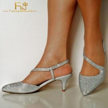 Women Shoes Ladies Pumps 2018 Spring Autumn Silver Rhinestones Pointy Toe Slingback Kitten Heels Plus Size Shoes11 12 13
