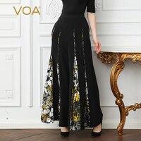 VOA Heavy Silk Plus Size Loose 5XL Long Trousers Women Wide Leg Pants Black Print Boho Casual Vintage Slant Pocket Spring K383