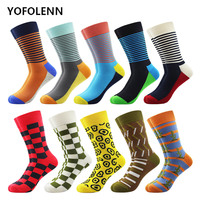 10 pairs/lot Male Cotton Socks Happy Funny Hip Hop Street Style Socks for Men with Slim Stripe Pattern Cool Skateboard Crazy