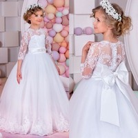 2017 White Lace First Communion Dresses For Girls 3 4 Sleeves Flower Girl Dresses Bow For