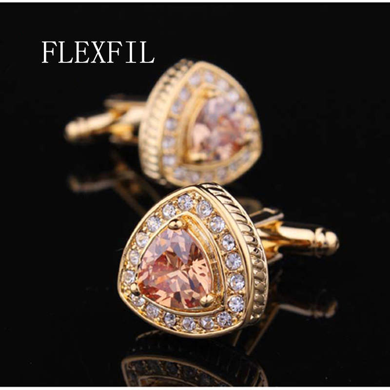 FLEXFIL Shirt Cufflink For Mens Designer Crystal Gold-color Cuff Link Button Male Fashion High Quality Fashion Luxury Wedding