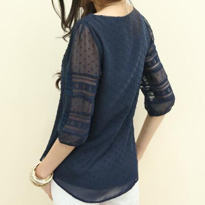 Womens Korea Style Fashion Sheer Blouses Half Sleeve Blusas Chiffon Shirts Lace Stitching Plus Size S 5XL|Blouses & Shirts| - AliExpress