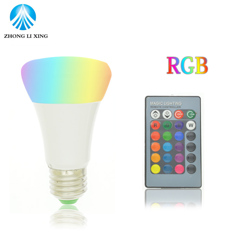 Brightness 7W 10W 15W RGB E27 LED Bulb Light Stage Lamp 12 Colors with Remote Control Led Lights for Home AC 85-265V RGB + White rgb led bulb 9w 15w rgb bulb e27 e26 e14 gu10 b22 ac 85 265v rgb led lamp with remote control multi color lamp