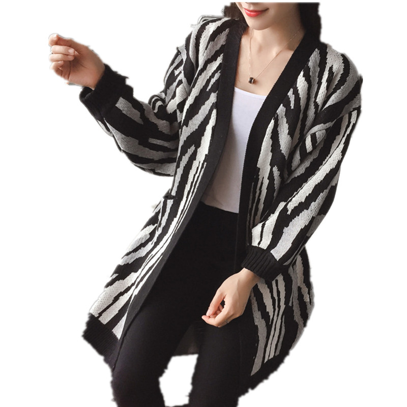 Fashion Zebra Striped Bat Sleeve Autumn Knitted Cardigan ...