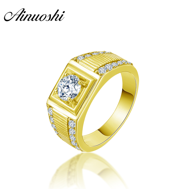 AINUOSHI 10K Solid Yellow Gold Men Ring 2 Rows Drill Square Ring Engagement Wedding Male Jewelry 5.5g Exquisite Wedding Band цена и фото