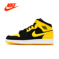 Original New Arrival Authentic Nike Air Jordan 1 Mid AJ1 Black Yellow Joe Men's Basketball Shoes Sneakers Outdoor Non slip Shoes