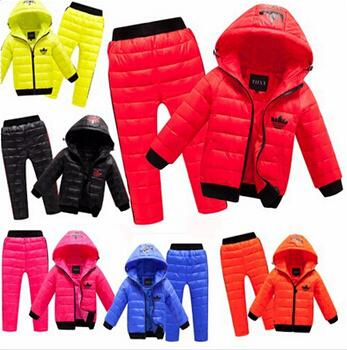 New Children Set Boys girls Clothing sets winter Warm 2 8year hoody Down Jacket + Trousers Waterproof Snow Warm kids Clothes