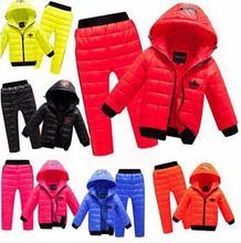 Новый Набор Детей Мальчики девочки Одежда устанавливает зима Теплая 2-8year капюшоном Вниз Куртка + Брюки Водонепроницаемый Снег Теплый детская Одежда