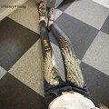 WHITNEY WANG Primavera Otoño Streetwear de La Moda Alas Lentejuelas rasgados Pantalones Vaqueros Mujeres Lápiz pantalones de Mezclilla Pantalones vaqueros Más Tamaño femme