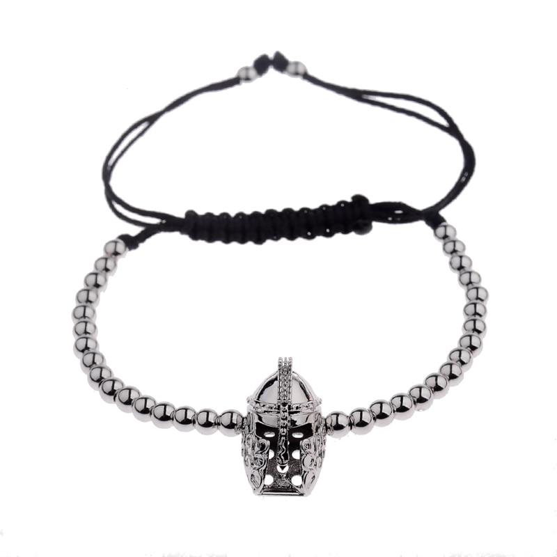 New Design Black CZ Stainless Steel Beads Braiding Buddha Bracelet Spartan Helmet Charm Bracelets For Women/Men Jewelry AB1016 10
