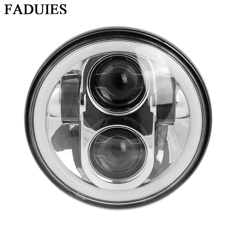 Black Chrome 5.75 HID LED Headlight High/Low Beam 5 3/4 Front Driving Head Light Headlamp For Harley motor Projector