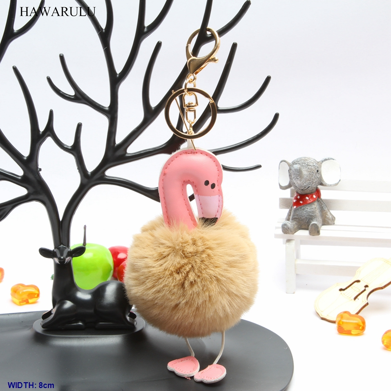 HAWARULU 2pcs 8cm DIY Creative flamingo imitation rabbit fur car pompom key bionic pompon christmas gift fetival handmade in DIY Craft Supplies from Home Garden